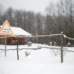 Le rucher école sous la neige.