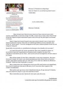 Lettre pour le président